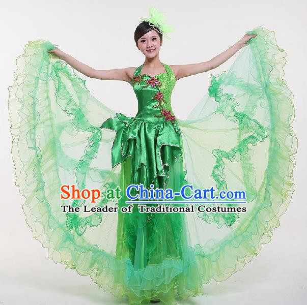 Top Grade Compere Professional Compere Costume, Chorus Dress Modern Opening Dance Big Swing Green Dress for Women