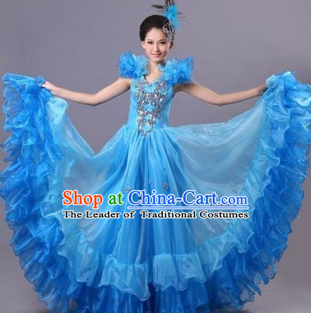 Top Grade Compere Professional Compere Costume, Ballroom Dance Dress Modern Opening Dance Big Swing Blue Dress for Women