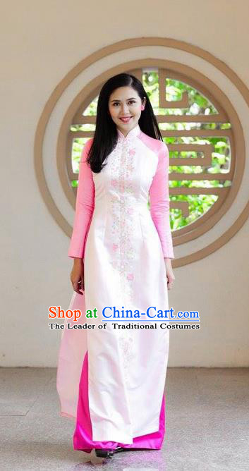 Traditional Top Grade Asian Vietnamese Ha Festival Bride Ao Dai Dress, Vietnam National Jing Nationality Princess Pink Cheongsam Costumes for Women
