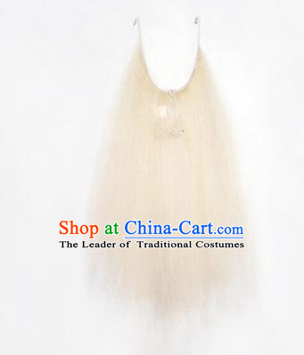 Chinese Ancient Opera Old Men White Long Wig Beard, Traditional Chinese Beijing Opera Props Laosheng-role Mustache Li Kui False Beard