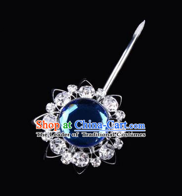 Chinese Ancient Peking Opera Pink Flowers Hair Accessories Headwear, Traditional Chinese Beijing Opera Head Ornaments Hua Tan White Blue Crystal Bulb Hairpins