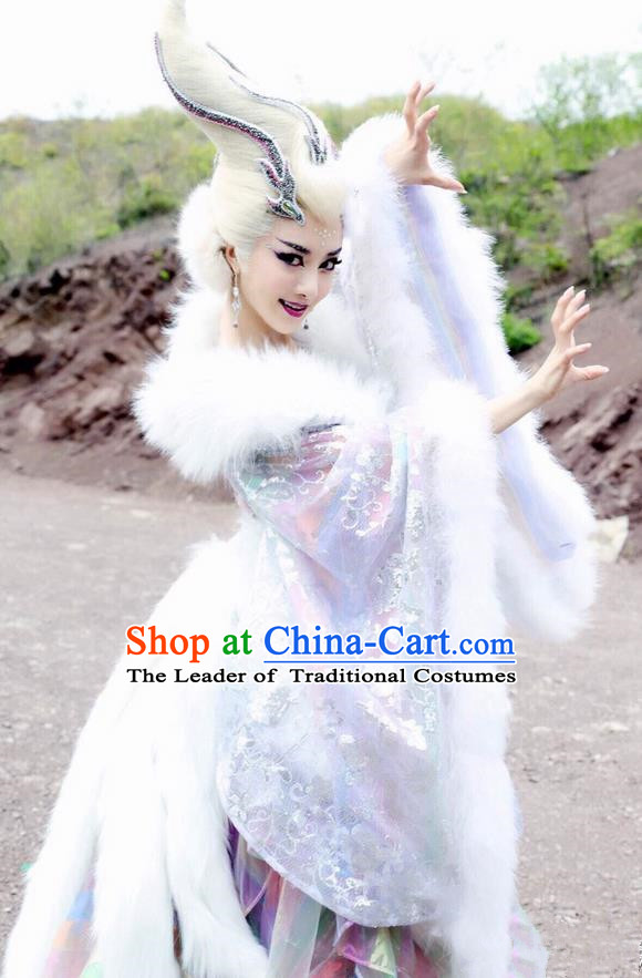 Traditional Chinese Shang Dynasty Sue da ji Enchantress Costumes and Headpiece Complete Set, The Legend of Funsbau Ancient Imperial Consort Dress Clothing