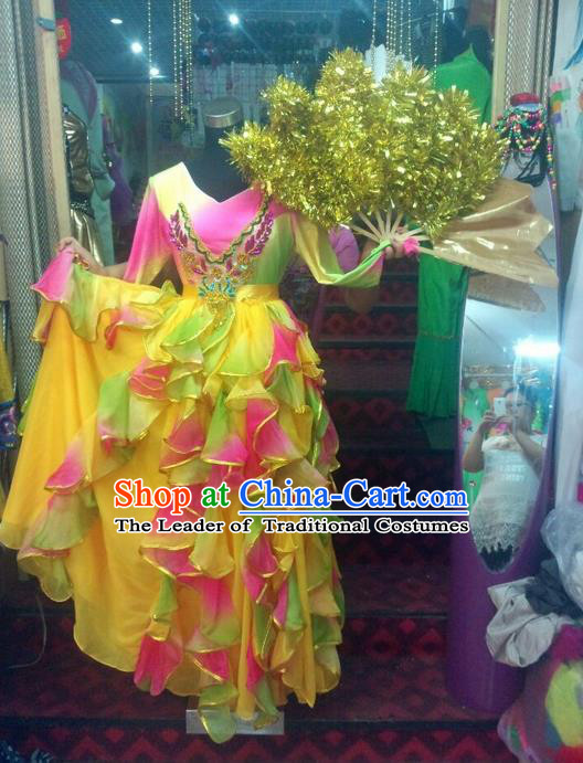 Top Grade Compere Professional Compere Costume, Ballroom Dance Dress Modern Opening Dance Fan Dance Big Swing Yellow Dress for Women