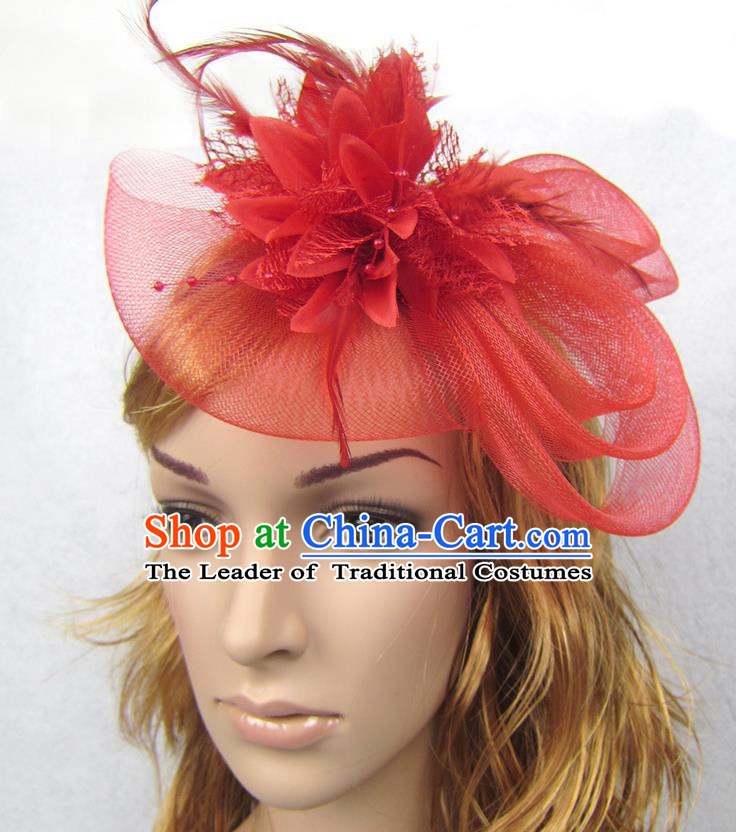 Top Modern Dance Hair Accessories Hair Clasp, Female Red Flower Veil Top Hat Ornament Headband for Women