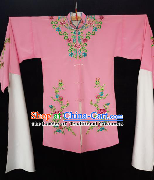Traditional Chinese Peking Opera Costumes Pink Blouse, China Beijing Opera High-grade Embroidered Water-sleeve Cloud Shoulder Wearing for Women