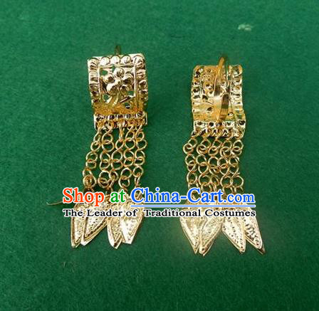 Traditional Chinese Ancient Classical Handmade Miao Silver Earrings Jewelry Accessories Hanfu Palace Golden Eardrop for Women