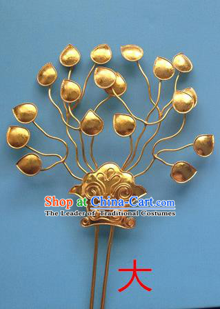Traditional Chinese Ancient Classical Handmade Imperial Empress Hair Accessories Golden Headwear Hairpin for Women