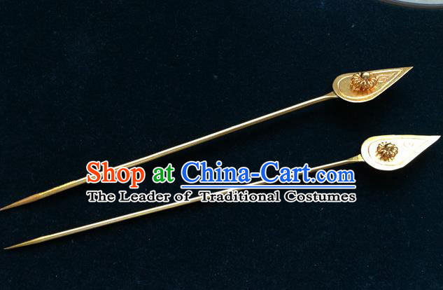 Traditional Handmade Chinese Ancient Classical Hair Accessories Miao Silver Barrettes Golden Hairpin Hair Fascinators for Women