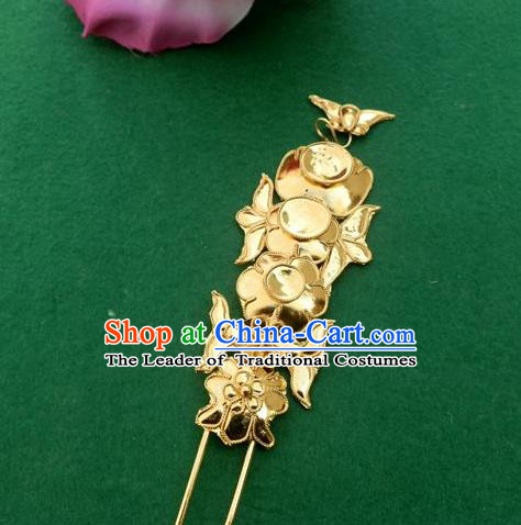 Traditional Chinese Ancient Classical Handmade Hair Accessories Hanfu Headwear Han Dynasty Palace Golden Hairpin for Women