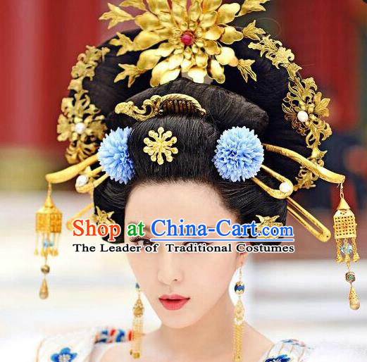 Traditional Chinese Ancient Classical Handmade Tang Dynasty Imperial Consort Hairpin Phoenix Coronet Jewelry Accessories Hanfu Classical Palace Combs Hair Sticks Complete Set for Women