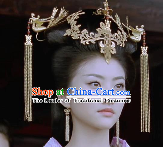 Traditional Chinese Ancient Classical Handmade Barrettes Hairpin, Step Shake Hair Jewelry Accessories Hanfu Classical Palace Hair Sticks Complete Set for Women