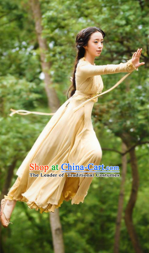 Chinese Ancient Tang Dynasty Young Lady Costume, Traditional Chinese Ancient Peri Swordsman Costume and Headpiece Complete Set for Women