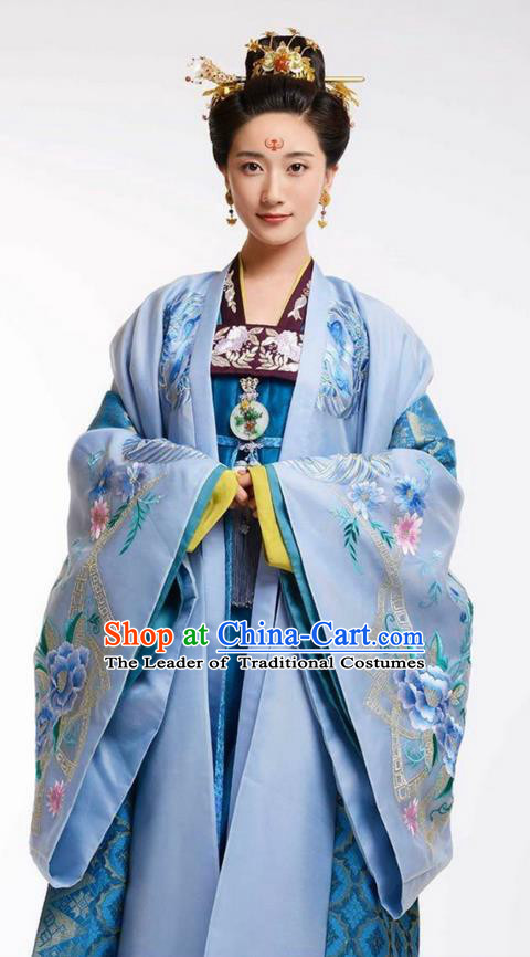 Chinese Ancient Tang Dynasty Imperial Concubine Costume, Traditional Chinese Ancient Peri Palace Lady Costume and Headpiece Complete Set for Women