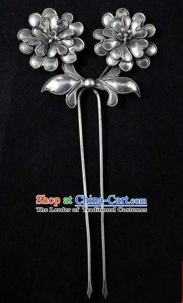 Traditional Handmade Chinese Ancient Classical Hair Accessories Barrettes China Sliver Hairpins Palace Lady Flower Step Shake Hair Sticks for Women