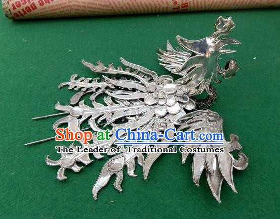 Traditional Handmade Chinese Ancient Classical Hair Accessories Headwear Barrettes Hanfu Hairpins, Ming Dynasty Imperial Phoenix Crown Step Shake Hair Clasps Hair Jewellery for Women
