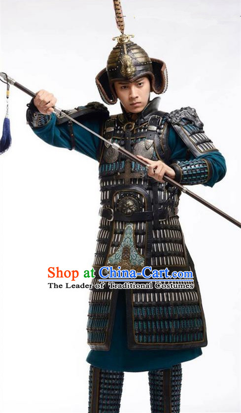 Chinese Ancient Tang Dynasty General Commander Armour Costume and Headwear Complete Set, Traditional Chinese Ancient Warrior Helmet Clothing for Men
