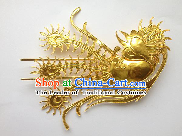 Traditional Handmade Chinese Ancient Classical Hair Accessories Barrettes, Bride Wedding Step Shake Hair Sticks Phoenix Hairpins for Women