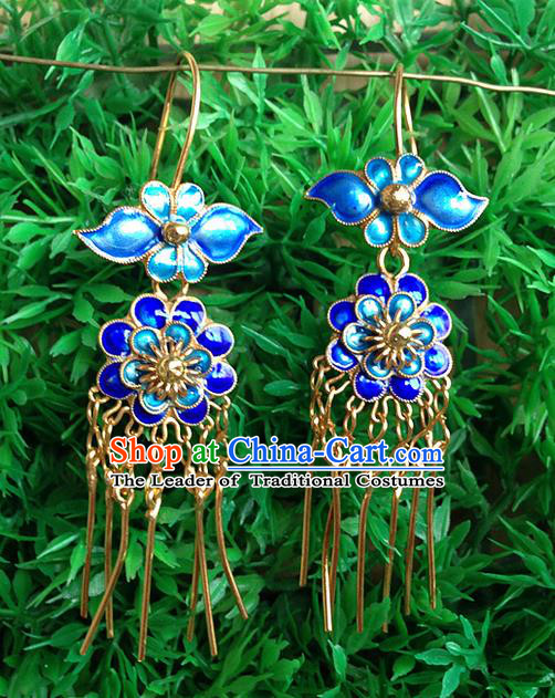 Traditional Handmade Chinese Ancient Classical Jewellery Accessories Blueing Earrings, Ming Dynasty Wedding Gilding Eardrop for Women