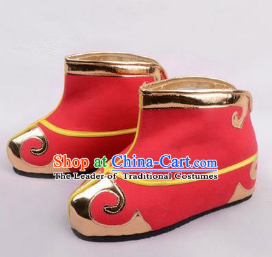 Chinese Ancient Peking Opera Martial Role Boots, Traditional China Beijing Opera Male Red Embroidered Shoes