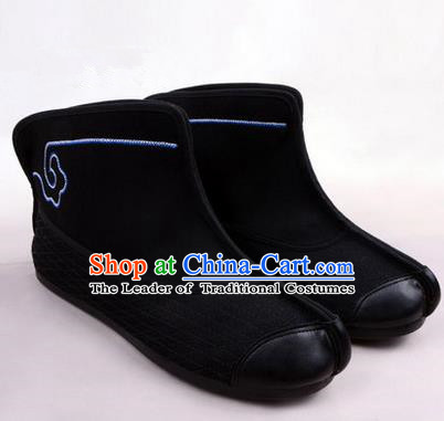 Chinese Ancient Peking Opera Huangmei Opera Martial Boots, Traditional China Beijing Opera Male Black Embroidered Shoes