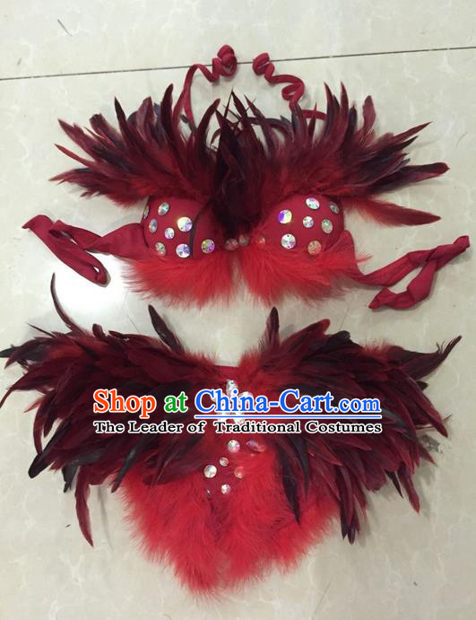 Top Grade Professional Performance Catwalks Bikini Swimsuit, Traditional Brazilian Rio Carnival Samba Modern Fancywork Red Feather Clothing for Women