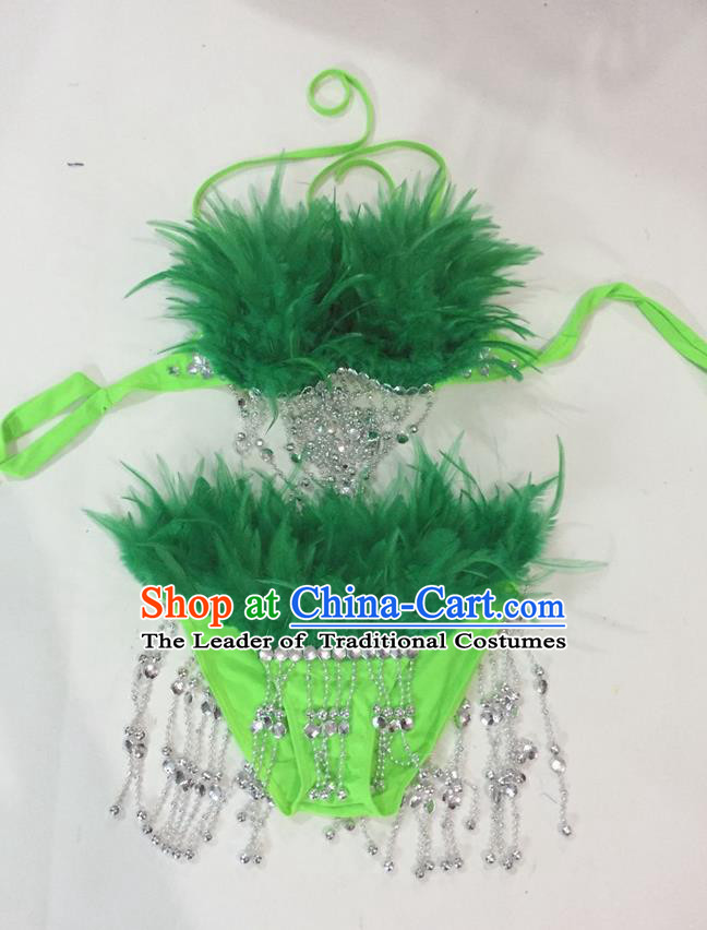 Top Grade Professional Performance Catwalks Swimsuit Costumes, Traditional Brazilian Rio Carnival Samba Suits Modern Fancywork Deep Green Feather Bikini for Women