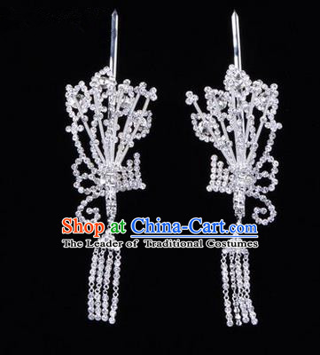 Chinese Ancient Peking Opera Hair Accessories Young Lady Diva White Phoenix Headwear, Traditional Chinese Beijing Opera Head Ornaments Hua Tan Crystal Hairpins