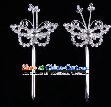 Chinese Ancient Peking Opera Hair Accessories Young Lady Diva Butterfly Headwear, Traditional Chinese Beijing Opera Head Ornaments Hua Tan White Crystal Hairpins