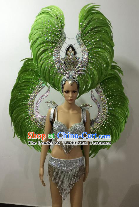Top Grade Professional Performance Catwalks Green Feather Bikini and Deluxe Wings Headpiece, Traditional Brazilian Rio Carnival Samba Modern Fancywork Swimsuit Costume for Women