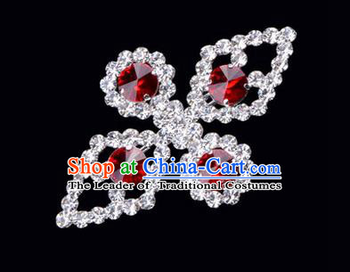 Chinese Ancient Peking Opera Jewelry Accessories Young Lady Diva Bowknot Brooch, Traditional Chinese Beijing Opera Hua Tan Red Crystal Breastpin