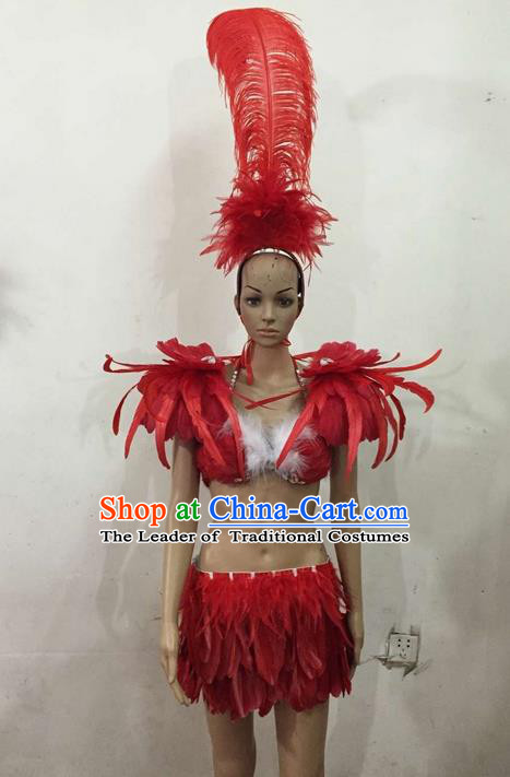 Top Grade Professional Performance Catwalks Costume Red Feather Bikini, Traditional Brazilian Rio Carnival Samba Dance Modern Fancywork Swimsuit Clothing for Women