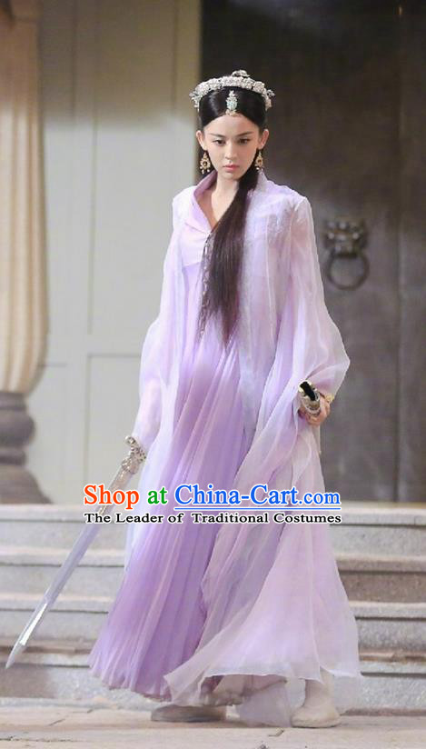 Traditional Ancient Chinese Tang Dynasty Peri Costume and Handmade Headpiece Complete Set, Fighter of the Destiny Hanfu Swordswoman Princess Clothing