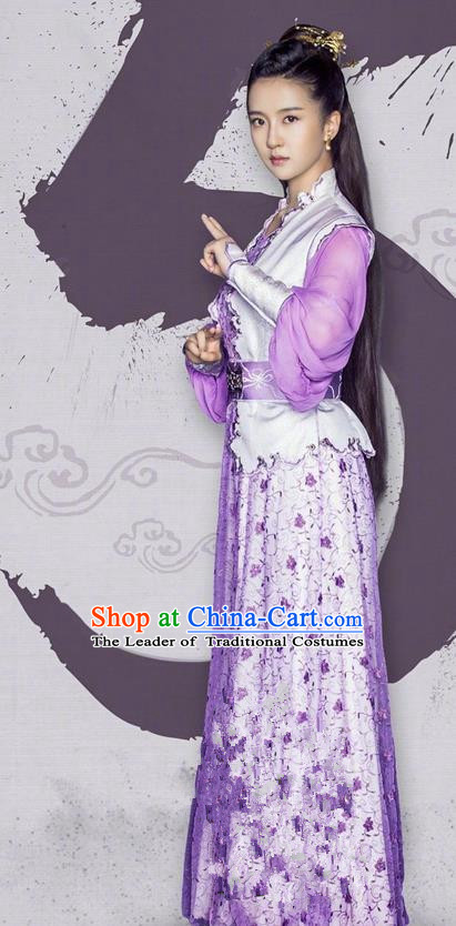 Traditional Ancient Chinese Tang Dynasty Princess Costume and Handmade Headpiece Complete Set, Fighter of the Destiny Hanfu Swordswoman Young Lady Clothing