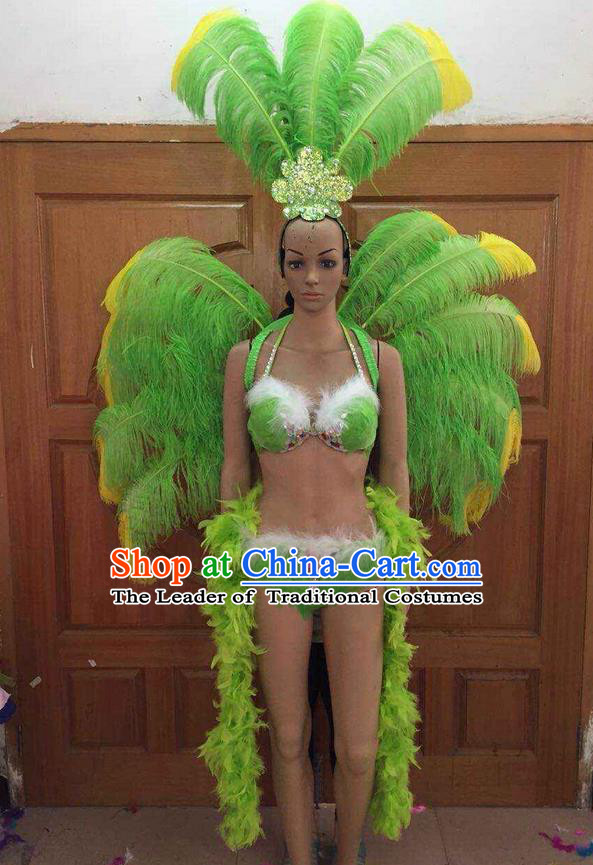 Top Grade Professional Performance Catwalks Costume Green Feather Bikini with Wings, Traditional Brazilian Rio Carnival Samba Dance Clothing and Headpiece for Women