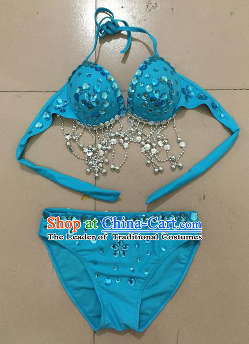 Top Grade Professional Performance Catwalks Costume Blue Swimsuit, Traditional Brazilian Rio Carnival Samba Belly Dance Bikini Clothing for Kids