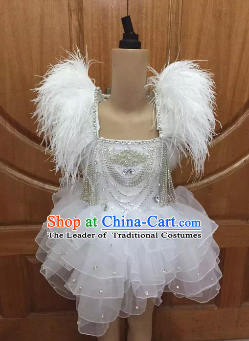 Top Grade Professional Performance Catwalks White Dress, Traditional Brazilian Rio Carnival Samba Dance Modern Fancywork Clothing for Kids