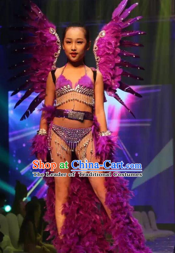 Top Grade Professional Performance Catwalks Purple Feather Bikini and Wings, Brazilian Rio Carnival Samba Opening Dance Swimsuit Clothing for Girls