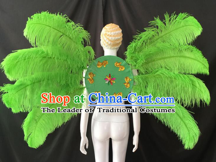 Top Grade Professional Performance Catwalks Green Feathers Decorations Backplane, Brazilian Rio Carnival Parade Samba Dance Wings for Women