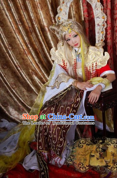 Top Grade Traditional China Ancient Cosplay Costumes, China Ancient Young Lady Princess Elegant Hanfu Dress for Women