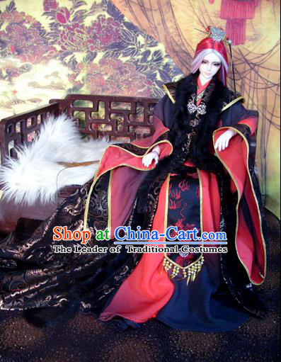 Traditional Ancient Royal Highness King Costumes Complete Set, China Ancient Cosplay Swordsman Clothing Chivalrous Expert Outfit for Men for Kids