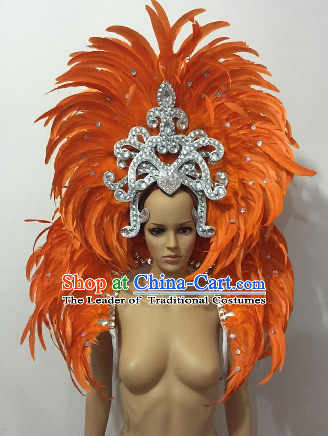 Top Grade Professional Performance Catwalks Opening Dance Orange Feather Big Hair Accessories, Brazilian Rio Carnival Parade Samba Dance Headpiece for Women