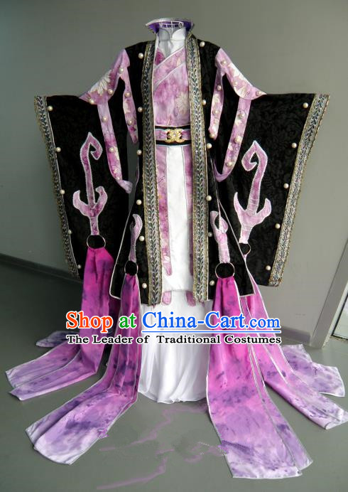 Top Grade Traditional China Ancient Cosplay Princess Costumes, China Ancient Palace Lady Fairy Embroidery Robe Dress Clothing for Women