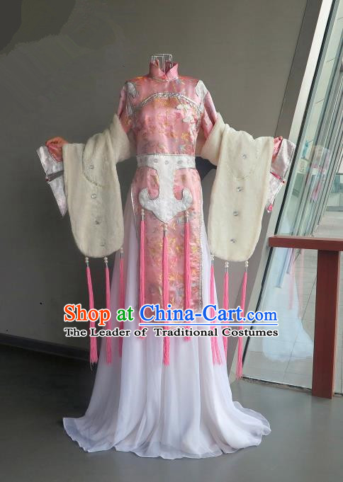 Top Grade Traditional China Ancient Young Lady Costumes, China Ancient Cosplay Princess Fairy Pink Dress Clothing for Women