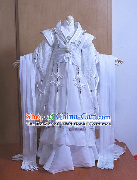 Top Grade Traditional China Ancient Cosplay Prince Swordsman Costumes Complete Set, China Ancient Knight-Errant Hanfu Robe Clothing for Men for Kids