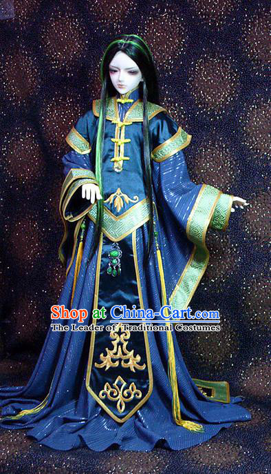 Top Grade Traditional China Ancient Cosplay Swordsman Blue Costumes Complete Set, China Ancient Taoist Royal Highness Hanfu Robe Clothing for Men for Kids