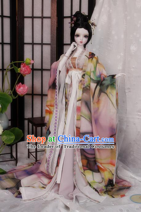 Top Grade Traditional China Ancient Palace Lady Costumes Complete Set, China Ancient Cosplay Tang Dynasty Imperial Consort Dress Clothing for Adults and Kids