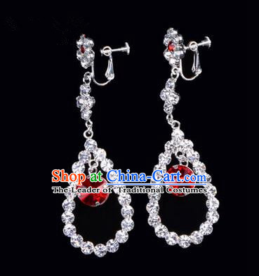 Chinese Ancient Peking Opera Head Accessories Young Lady Diva Colorful Crystal Red Water Drop Earrings, Traditional Chinese Beijing Opera Hua Tan Ear Pendants