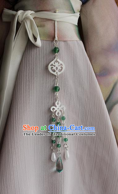 Top Grade Traditional China Ancient Palace Jade Accessories Pendant, China Ancient Swordsman Beads Tassel Waist Pendant