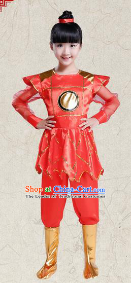 Top Grade Chinese Peking Opera Female Soldier Costume, Children Beijing Opera General Clothing for Kids