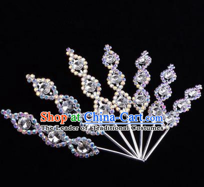 Chinese Ancient Peking Opera Head Accessories Young Lady Diva Crystal Headwear White Hairpins, Traditional Chinese Beijing Opera Hua Tan Head-ornaments